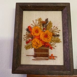 Vintage Needlepoint Flower Picture